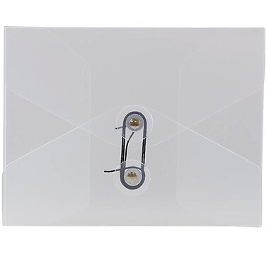 JAM Paper® Plastic Portfolio, Button and String Tie Closure, Small Photo Size, 5.25 x 6.75 x.38, Clear Frost, 4/Pack (354609g)