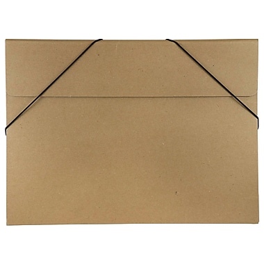 JAM Paper® Kraft Chipboard Portfolio, Elastic Closure, Large, 11 x 15 x.38, Brown Kraft, 2/Pack (6102 201g)