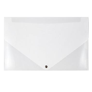 JAM Paper® Plastic Portfolio with Snap Closure, Large, 11 x 17 x 0.75, Clear, 2/Pack (2254001g)