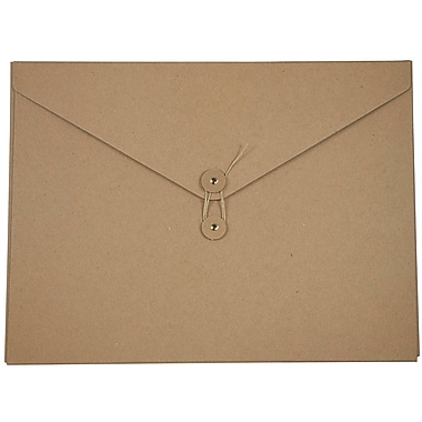 JAM Paper® Kraft Chipboard Portfolio, Button and String Tie Closure, Jumbo, 12.5 x 16.5 x 0.5, Natural Kraft, 2/Pack (3039 201g)