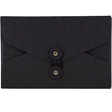 JAM Paper® Kraft Chipboard Portfolio, Button and String Tie Closure, 5.5 x 8.5 x 1, Black, 2/Pack (3036blackg)