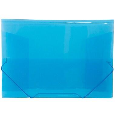 JAM Paper® Plastic Paper Holder Action Case With Elastic Closure, 9.5 x 12.38, Blue, 4/Pack (332536g)