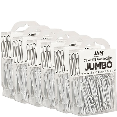 JAM Paper® Coloured Jumbo Paper Clips, Large, White Paperclips, 450/Pack (2184934g)