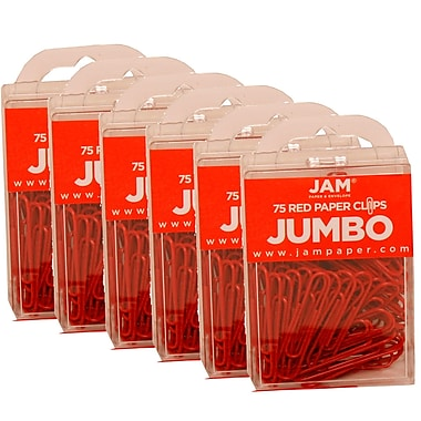 JAM Paper® Coloured Jumbo Paper Clips, Large, Red Paperclips, 450/Pack (2183754g)