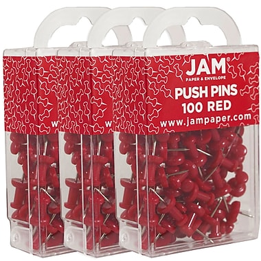 JAM Paper® Push Pins, Red Pushpins, 300/Pack (2242955g)