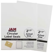 JAM Paper® Round Circle Label Sticker Seals, 2.5 inch diameter, White, 2 packs of 120 (2147615066g)