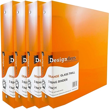 JAM PaperMD – Cartable à 3 anneaux Designders, 2 po, orange, 4/paquet