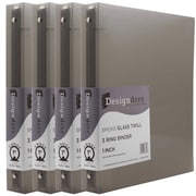 JAM Paper® Plastic 3 Ring Binder, 1 Inch, Smoke Grey, 4/Pack (751T1smg)