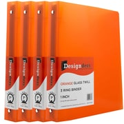 JAM Paper® Plastic 3 Ring Binder, 1 Inch, Orange, 4/Pack (751T1org)