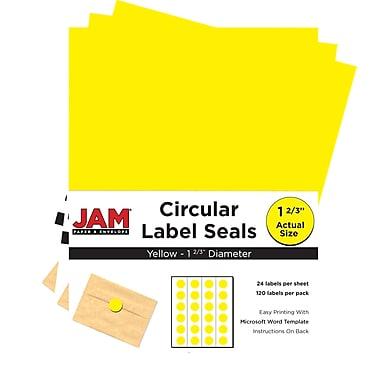 JAM Paper® Round Circle Label Sticker Seals, 1 2/3 inch diameter, Yellow, 3 packs of 120 (147627067g)