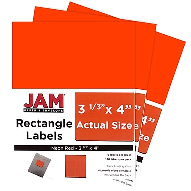 JAM Paper® Mailing Address Labels, 3 1/3 x 4, Neon Red, 3 packs of 120 (354328040g)