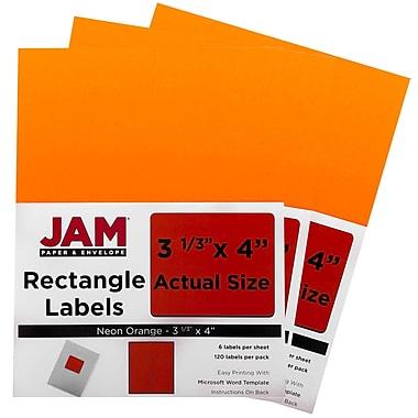 JAM PaperMD – Étiquettes postales de couleur néon fluorescent, 3 1/3 x 4 po, orange néon, 360/paquet