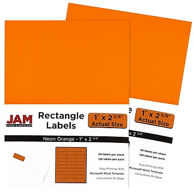 JAM Paper® Mailing Address Labels, 1 x 2 5/8, Neon Orange, 3 packs of 120 (354328014g)