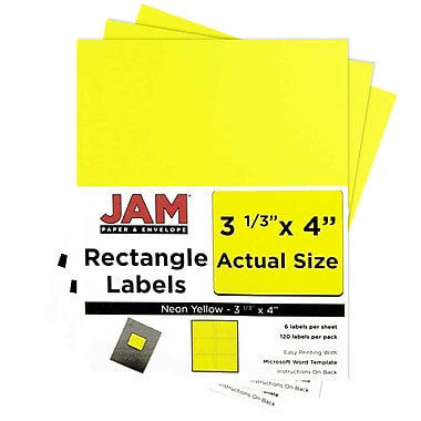 JAM Paper® Mailing Address Labels, 3 1/3 x 4, Neon Yellow, 3 packs of 120 (354328049g)