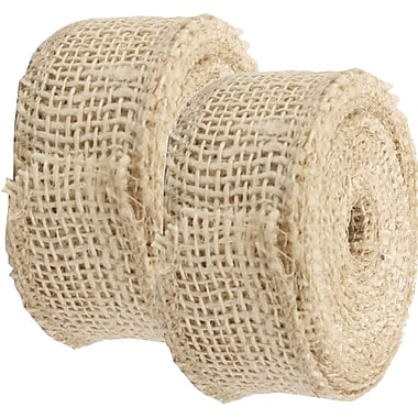 JAM Paper® Burlap Ribbon, 1.5 inch wide x 10 Yards, Ivory, 2/Pack (344226950g)
