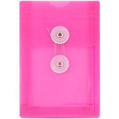 JAM Paper - Enveloppes en plastique/poly, 4 1/4 po x 6 1/4 po, fermeture avec bouton et ficelle, fuchsia, paq./24