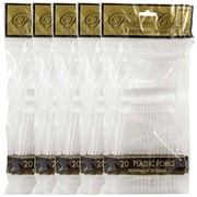 JAM Paper Heavy Weight Plastic Forks, Clear, 5 packs of 20 (2255820743g)