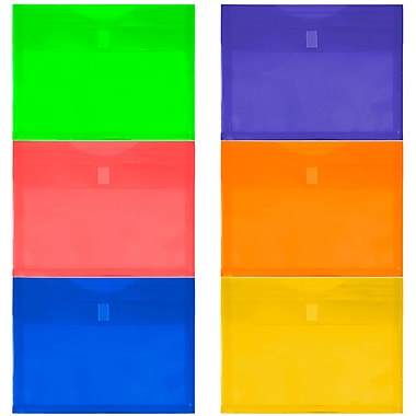 JAM Paper® Plastic Envelopes with VELCRO® Brand Closure, 1 Expansion, 9.75x13, Assorted Colors, 12/Pack (218V1rgbyporg)