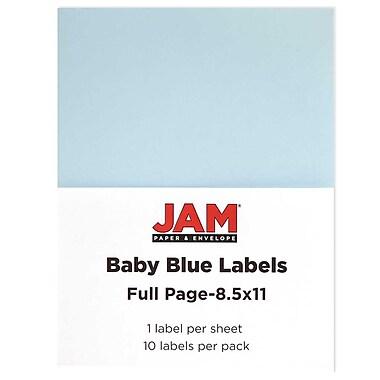 Jam PaperMD – Étiquettes autocollantes pleine page, 8 1/2 x 11 po, bleu poudre, 10/paquet