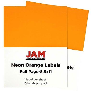 JAM Paper® Full Page Labels, 8.5 x 11 Sticker Paper, Neon Orange, 2 packs of 10 (337628613g)