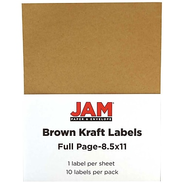 JAM PaperMD – Étiquettes pleine page, 8 1/2 x 11 po, rose bébé, 20/page