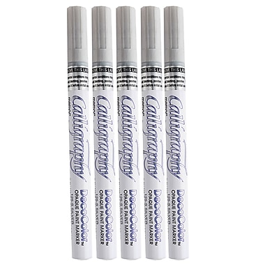 JAM Paper® Fine Point Opaque Paint Marker, Gray/Silver, 5/Pack (6514958g)