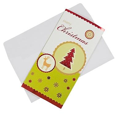 JAM Paper® Christmas Money Cards Set, Merry Christmas Reindeer and Christmas Tree, 24/Pack (95224270g)