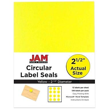 JAM Paper® Round Circle Label Sticker Seals, 2.5 inch diameter, Yellow, 120/Pack (147628582)
