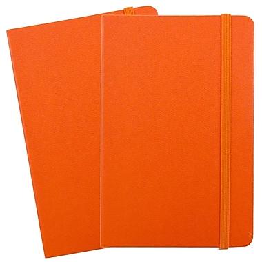 JAM Paper - Carnet ligné à couverture rigide, fermeture à élastique, format voyage (4 x 6 po), orange, 2/paquet (340528848g)
