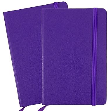 JAM Paper - Carnet ligné à couverture rigide, fermeture à élastique, format voyage (4 x 6 po), violet, 2/paquet (340528851g)