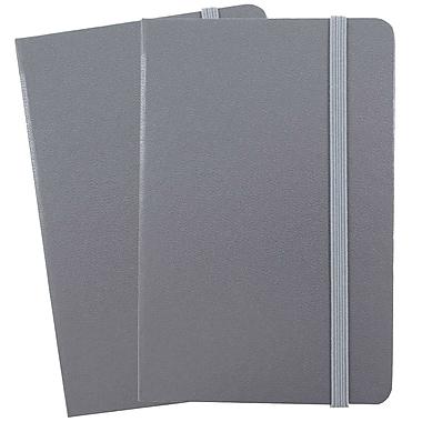 JAM Paper - Carnet ligné couv. rigide et fermeture élastique, grand, journal 5,88 x 8,5, gris, 2/paquet (340528858g)