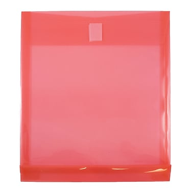 JAM Paper® Plastic Envelopes with VELCRO® Brand Closure, 1 Expansion, Letter Open End, 9.75 x 11.5, Red Poly 12/Pack