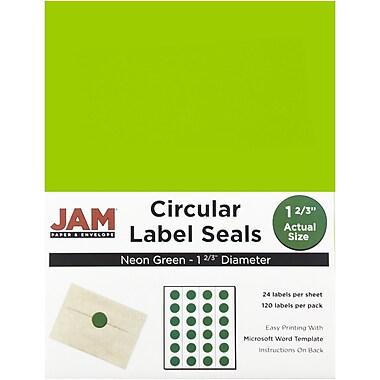 JAM PaperMD – Sceaux autocollants ronds, 1 2/3 po dia., vert néon, 120/paquet