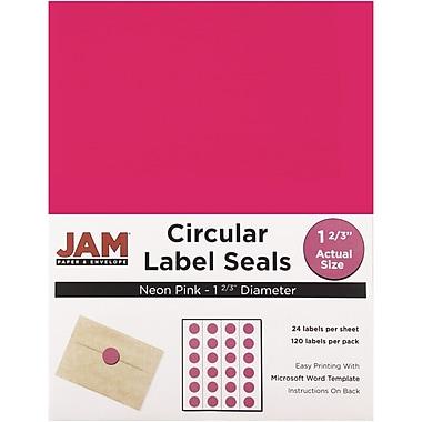 JAM PaperMD – Sceaux autocollants ronds, 1 2/3 po dia., rose néon, 120/paquet