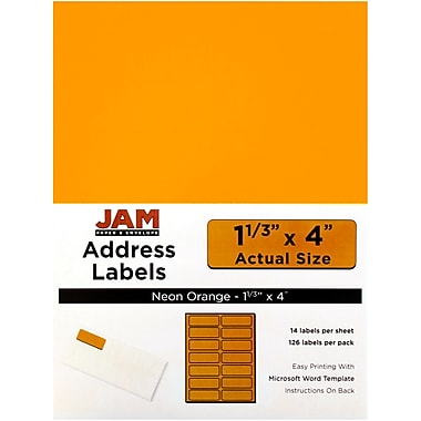 JAM Paper® Mailing Address Labels, 1 1/3 x 4, Neon Orange, 252/Pack