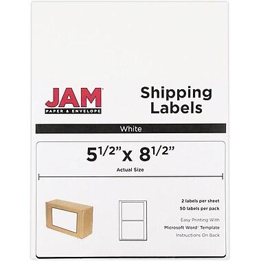 JAM PaperMD – Étiquettes d'expédition, demi-feuilles, 5,5 x 8,5 po, blanc, 50/paquet