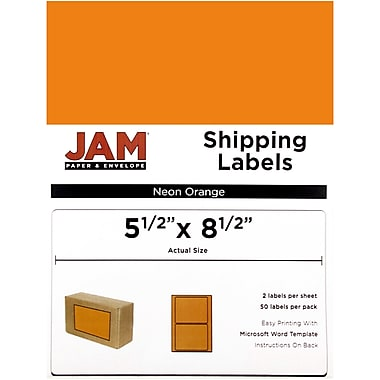 JAM Paper® Shipping Labels, Half Sheet, 5.5 x 8.5, Neon Orange, 50/Pack