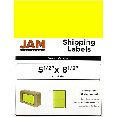 JAM Paper® Shipping Labels, Half Sheet, 5.5 x 8.5, Neon Yellow, 50/Pack
