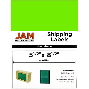 JAM Paper® Shipping Labels, Half Sheet, 5.5 x 8.5, Neon Green, 50/Pack