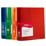 "JAM Paper® Assorted 1.5"" Plastic 3 Ring Binders, Red, Green, Blue, Orange, 4/Pack"