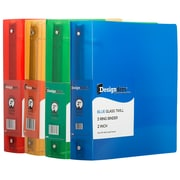 "JAM Paper® Assorted 2"" Plastic 3 Ring Binders, Red, Green, Blue, Orange, 4/Pack"