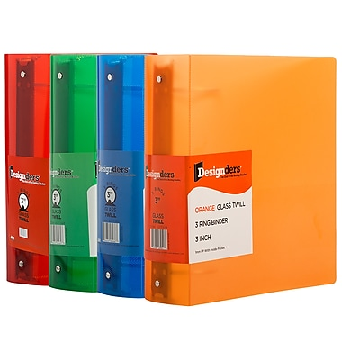 JAM PaperMD – Reliures en plastique à 3 anneaux assorties, 3 po, rouge, vert, bleu, orange, 4/paquet