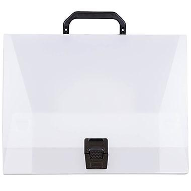 JAM PaperMD – Mallette en plastique à poignées, 12 3/4 x 9 1/2 x 3 po, transparent