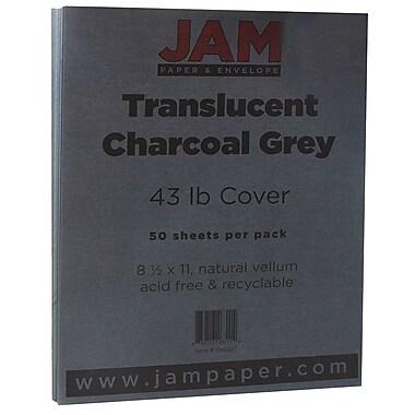 JAM PaperMD – Papier cartonné vélin translucide, 8 1/2 x 11 po, gris graphite, 43 lb, 250/paquet