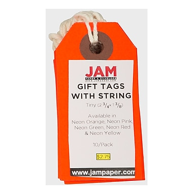 JAM Paper® Gift Tags with String, Tiny, 2 3/4
