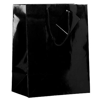 Jam Paper Sacs-cadeaux lustrées, grand format, 10 x 13 x 5 po, noir, lustré, 6/paquet (673GLBLA)