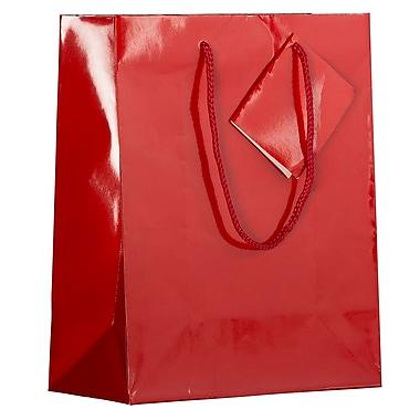 JAM Paper – Sacs-cadeaux lustrés, format moyen, 8 x 4 x 10 po, rouge, 6/paquet (672GLrea)