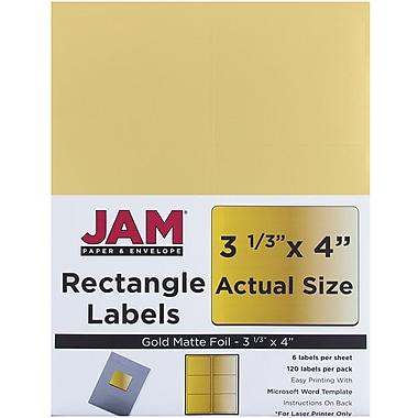 Jam Paper – Étiquettes postales, 3 1/3 x 4 po, or métallique, 120/paquet (336731902)