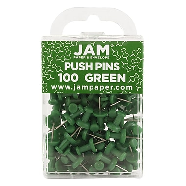 JAM Paper® Push Pins, Green, 100/Pack (2242954)