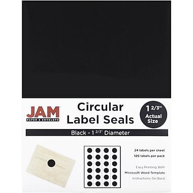 JAM Paper – Sceaux autocollants ronds, 1,67 po de diamètre, noir, 120/paquet (302229594)